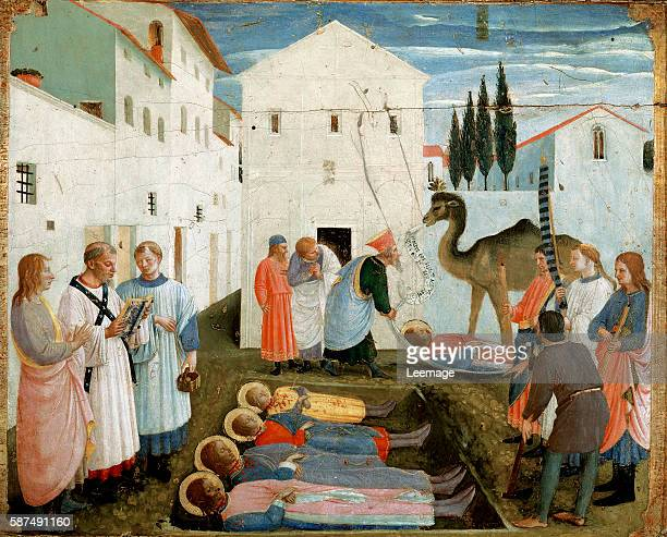 Burial of SS. Cosimo and Damian tempera on panel by Fra Angelico 1438-1440. Dim. 37x45 cm Museo di San Marco dell'Angelico, Florence, Italy