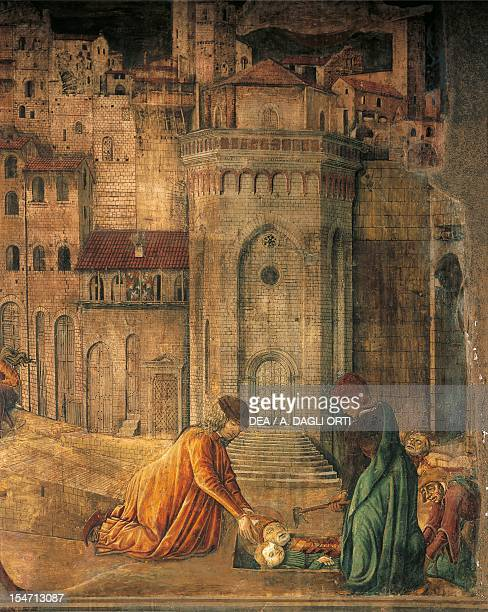 Burial of St Ercolano a scene from the Siege of Totila 14611466 by Benedetto Bonfigli fresco Priors Chapel Priors Palace Perugia Umbria Detail Italy...