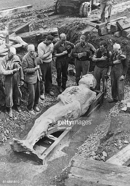 Burial of the Cardiff Giant at the Farmer's Museum Cooperstown NY This is a papermache replica of the Barnum hoax that fooled millions in 1869