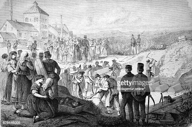 Burial of the victims of the segengottesschacht mining disaster of burgk thuringia germany historic woodcut c 1880