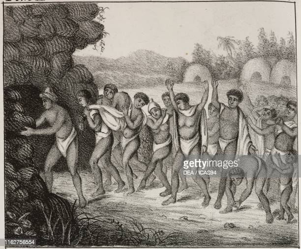 Burial rite of the Khoikhoi and Bantu people Africa lithograph from Galleria universale di tutti i popoli del mondo ossia storia dei costumi...