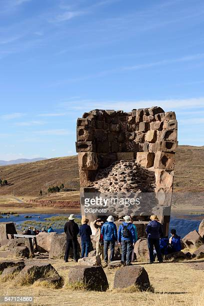burial tower at the archaelogical site of sillustani, peru - ogphoto stock pictures, royalty-free photos & images