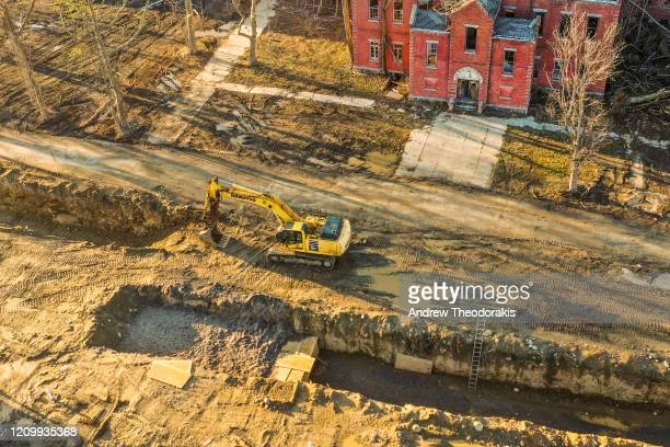 Burials take place on Hart Island on April 9 2020 in the Bronx borough of New York Hart Island's potter's field has experienced an influx of burials...