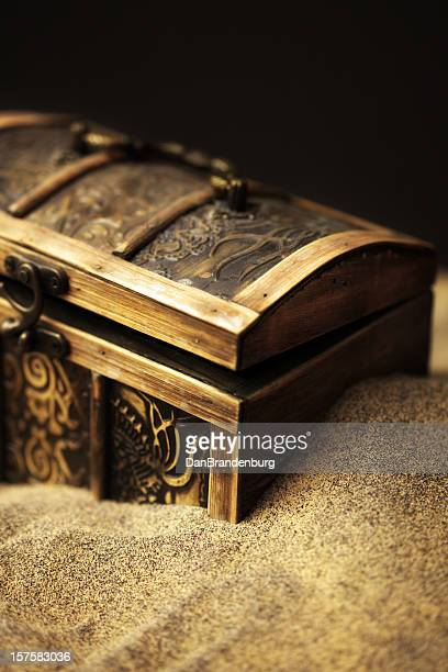 buried pirates treasure chest - antiquities stock pictures, royalty-free photos & images