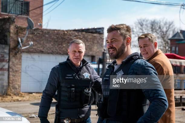 """Buried Secrets"""" Episode 720 -- Pictured: Jason Beghe as Hank Voight, Patrick John Flueger as Adam Ruzek, Spencer Garrett as Wade Henslow --"""