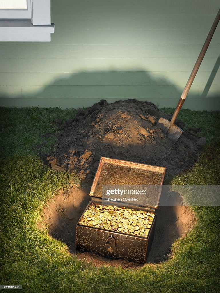 Buried Treasure In A Residential Back Yard Stock Photo ...
