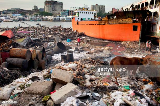 SADARGHAT DHAKA BANGLADESH Burigonga River side view on the day before of World Environment Day A large swathe of the Buriganga River which is the...