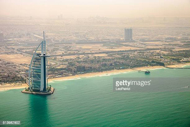 Burj Al Arab and Jumeirah Beach Hotel aerial view