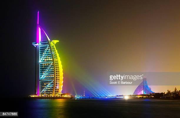 Burj Al Arab Hotel (L) and Jumeirah Beach Hotel