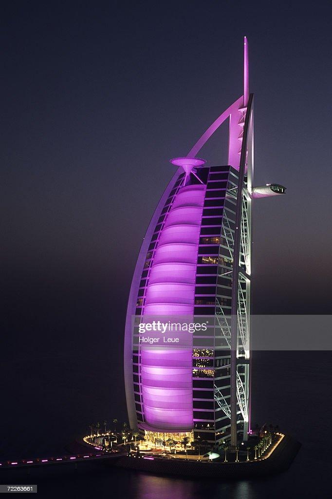 Burj Al Arab Hotel at night, Dubai, United Arab Emirates : Stock Photo