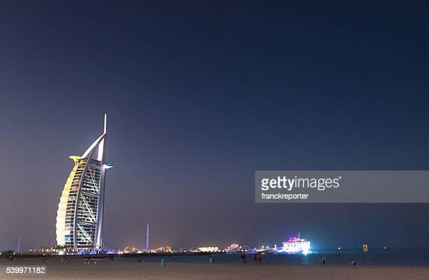 burj al arab hotel at night