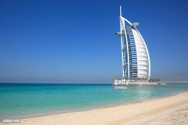 Burj Al Arab Hotel with Clear Blue Sky, Dubai, UAE
