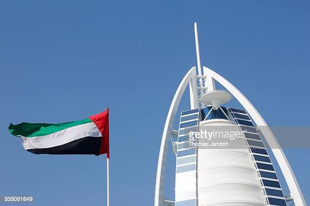 Burj Al Arab with flag Dubai UAE
