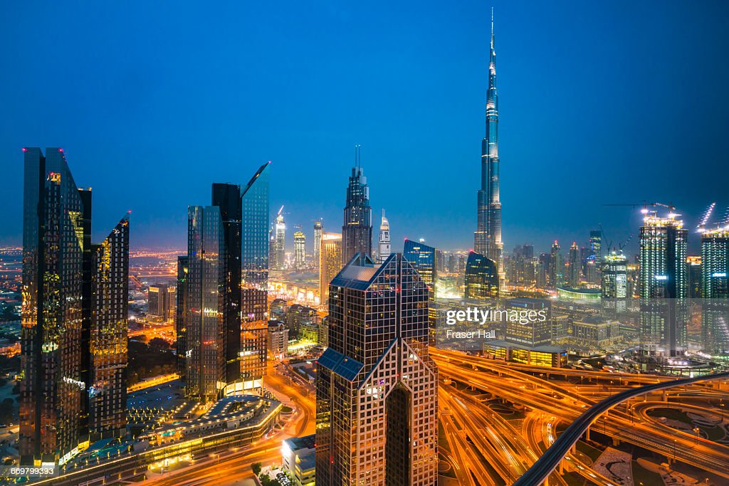 Burj Khalifa And Downtown Skyline By Night Dubai Stock Photo | Getty ...