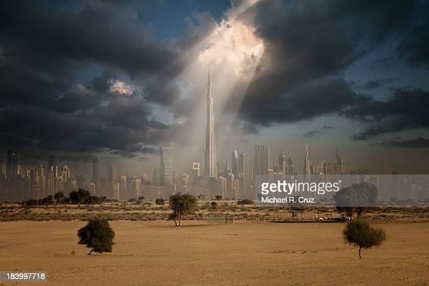 burj khalifa with sky rays - burj khalifa stock pictures, royalty-free photos & images