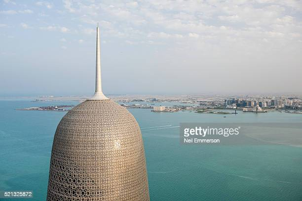burj qatar building in doha - doha stock pictures, royalty-free photos & images