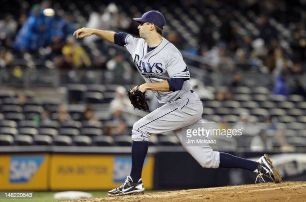 Burke Badenhop of the Tampa Bay Rays in action against the New York Yankees at Yankee Stadium on May 8 2012 in the Bronx borough of New York City The...