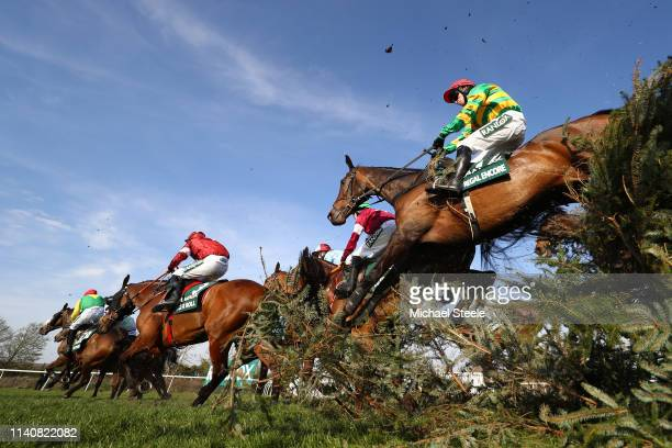 Burke riding clears the Canal Turn during the Randox Health Grand National Handicap Chase at Aintree Racecourse on April 06, 2019 in Liverpool,...