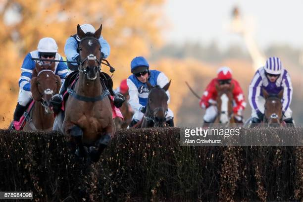 Burke riding Sir Valentino clear the last to win The Shawbrook Handicap Steeple Chase at Ascot racecourse on November 25 2017 in Ascot United Kingdom