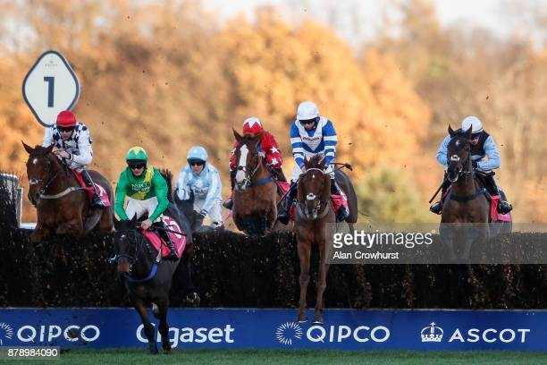 Burke riding Sir Valentino on their way to winning The Shawbrook Handicap Steeple Chase at Ascot racecourse on November 25 2017 in Ascot United...