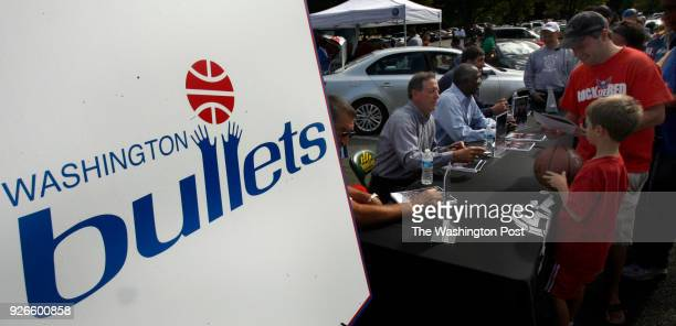 The Washington Wizards hold a Fan Fest at George Mason Un as former Bullets Jeff Ruland Kevin Grevey Bob Dandridge and Gheorghe Muresan sign...