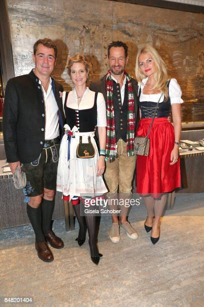 "Burkhard and Princess Isabelle ""Minzi"" zu Hohenlohe-Jagstberg, Photographer Sebastian Copeland and his wife Carolin Copeland during the 'Fruehstueck..."