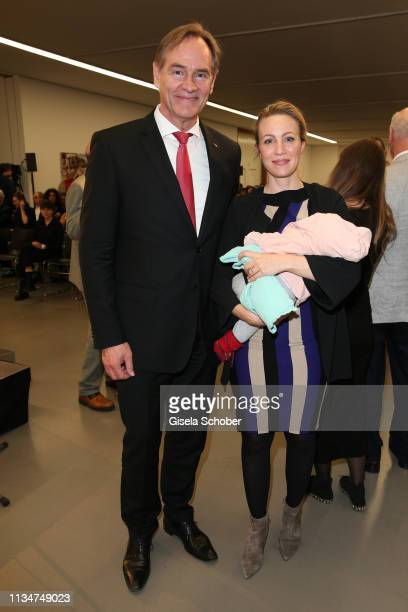Burkhard Jung Mayor of Leipzig and his wife Ayleena and his baby daughter Liva during the opening of the exhibition Yoko Ono Peace Is Power at MdbK...