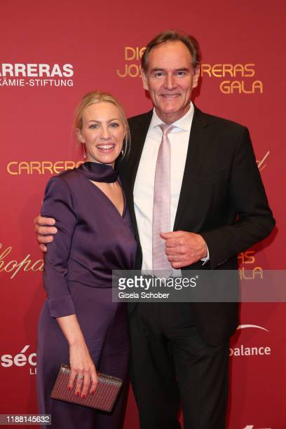 Burkhard Jung Mayor of Leipzig and his wife Ayleena Jung during the 25th annual Jose Carreras Gala on December 12 2019 at Messe Leipzig in Leipzig...