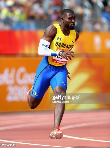 Burkheart Ellis Jr of Barbados competes in the Men's 200 metres heats during the Athletics on day six of the Gold Coast 2018 Commonwealth Games at...