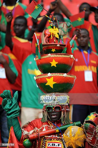 A Burkina Faso fan watches the 3rd qualifing match between Ghana and Burkina Faso during African Cup of Nations football championships CAN2010 at...