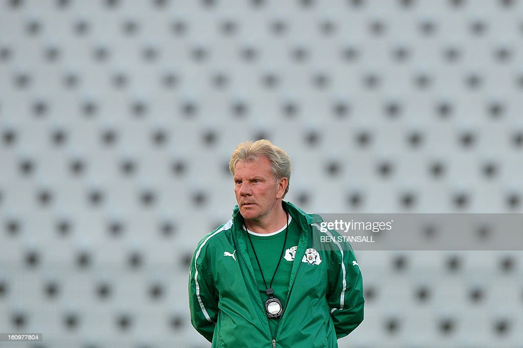 Burkina Faso national football team's Belgian head coach Paul Put attends a training session at the Rand Stadium in Johannesburg on February 8, 2013 as part of the preparation of the 2013 Africa Cup of Nations football final match against Nigeria.