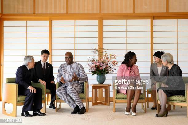 Burkina Faso President Roch Marc Christian Kabore and his wife Adjoavi Sika Kabore talk with Emperor Akihito and Empress Michiko during their meeting...