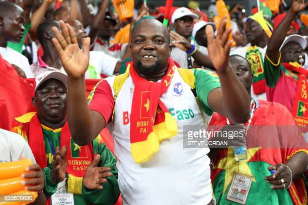A Burkina Faso supporter celebrates his team's goal during the 2017 Africa Cup of Nations third place football match between Burkina Faso and Ghana...