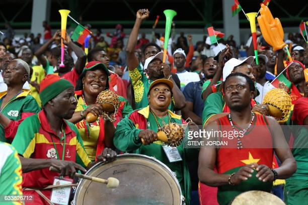 TOPSHOT Burkina Faso supporters celebrate their team's goal during the 2017 Africa Cup of Nations third place football match between Burkina Faso and...