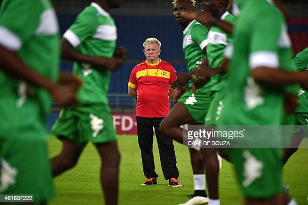 Burkina Faso's belgian head coach Paul Put watches players during a training session at Bata stadium Equatorial Guinea on January 16 2015 ahead to...