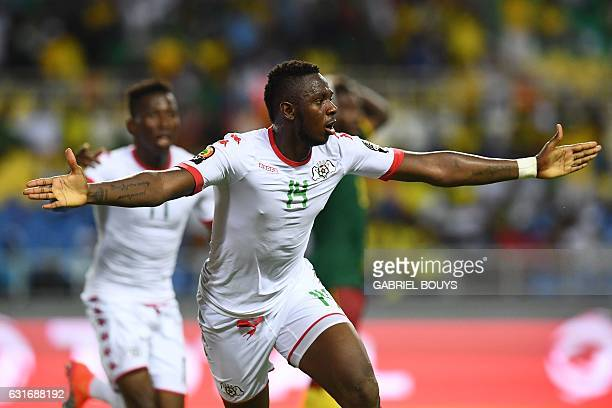 Burkina Faso's defender Issoufou Dayo celebrates after scoring a goal during the 2017 Africa Cup of Nations group A football match between Burkina...