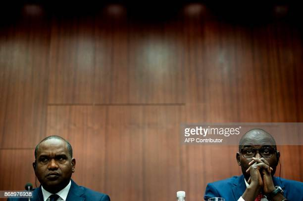 Burkina Faso's Foreign Minister Alpha Barry and Niger's Foreign Minister Ibrahim Yacoubou listen during an event at the Center for Strategic and...