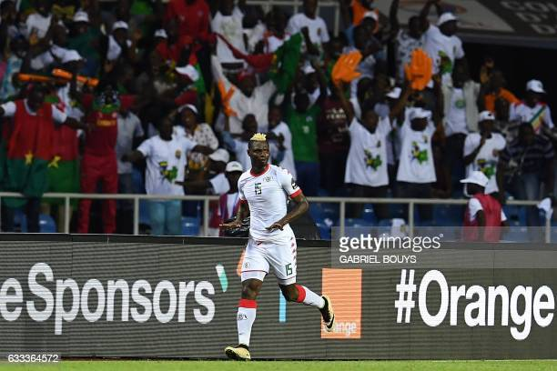 Burkina Faso's forward Aristide Bance celebrates after scoring a goal during the 2017 Africa Cup of Nations semifinal football match between Burkina...