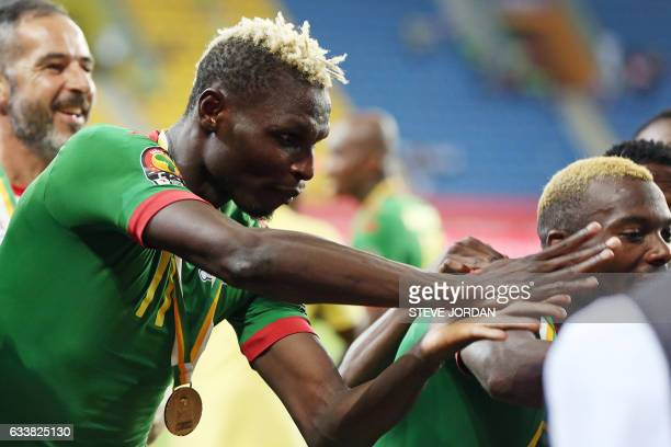 Burkina Faso's forward Aristide Bance celebrates at the end of the 2017 Africa Cup of Nations third place football match between Burkina Faso and...