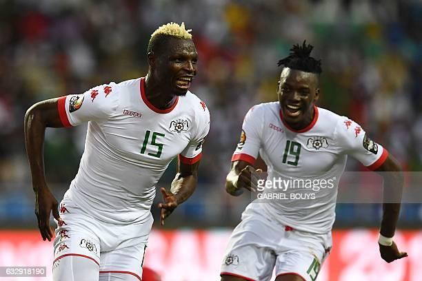 Burkina Faso's forward Aristide Bance celebrates with Burkina Faso's forward Bertrand Traore after scoring a goal during the 2017 Africa Cup of...