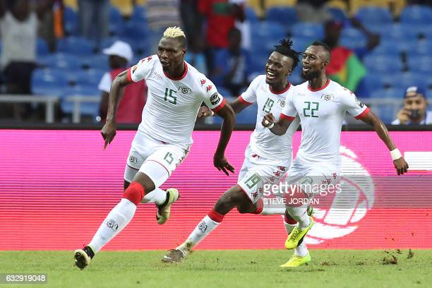 Burkina Faso's forward Aristide Bance celebrates with teammates after scoring a goal during the 2017 Africa Cup of Nations quarterfinal football...