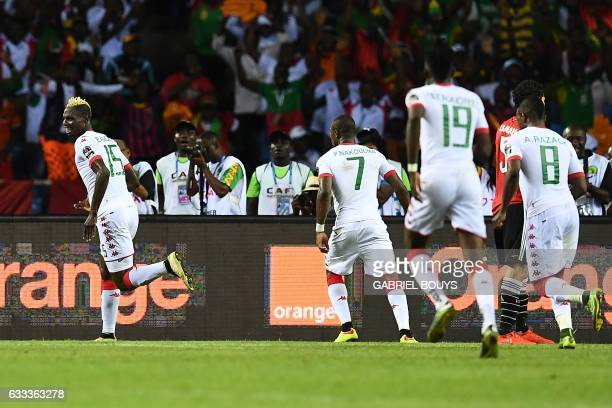 Burkina Faso's forward Aristide Bance celebrates with teammates after scoring a goal during the 2017 Africa Cup of Nations semifinal football match...