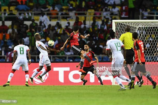 TOPSHOT Burkina Faso's forward Aristide Bance controls the ball before scoring a goal during the 2017 Africa Cup of Nations semifinal football match...