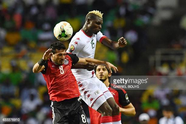 Burkina Faso's forward Aristide Bance heads the ball with Egypt's midfielder Tarek Hamed during the 2017 Africa Cup of Nations semifinal football...