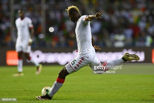 Burkina Faso's forward Aristide Bance prepares to kick the ball during the 2017 Africa Cup of Nations semifinal football match between Burkina Faso...