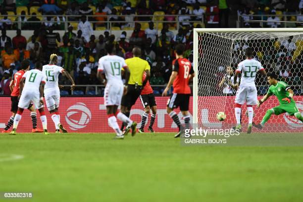 Burkina Faso's forward Aristide Bance scores a goal during the 2017 Africa Cup of Nations semifinal football match between Burkina Faso and Egypt at...