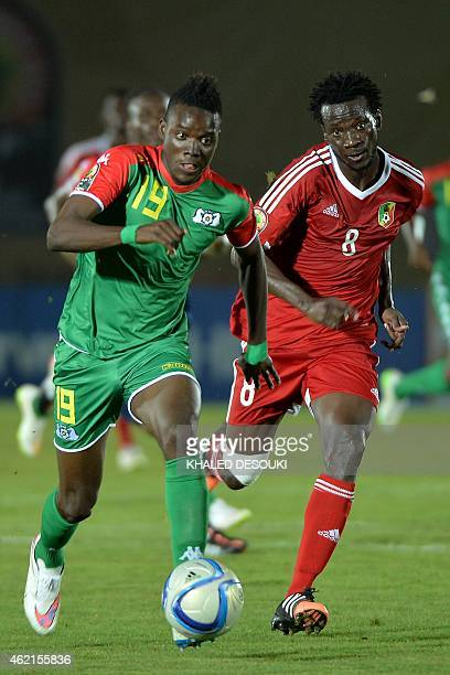 Burkina Faso's midfielder Bertrand Traore challenges Congo's midfielder Delvin Ndinga during the 2015 African Cup of Nations group A football match...