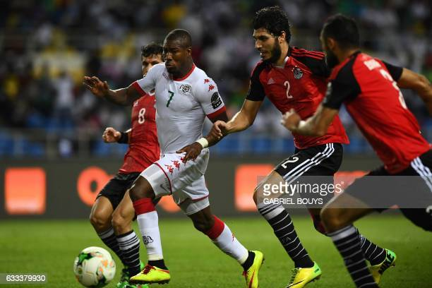 Burkina Faso's midfielder Prejuce Nakoulma challenges Egypt's defender Ali Gabr during the 2017 Africa Cup of Nations semifinal football match...