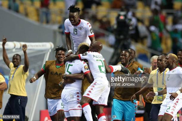Burkina Faso's players celebrate a goal during the 2017 Africa Cup of Nations quarterfinal football match between Burkina Faso and Tunisia at the...
