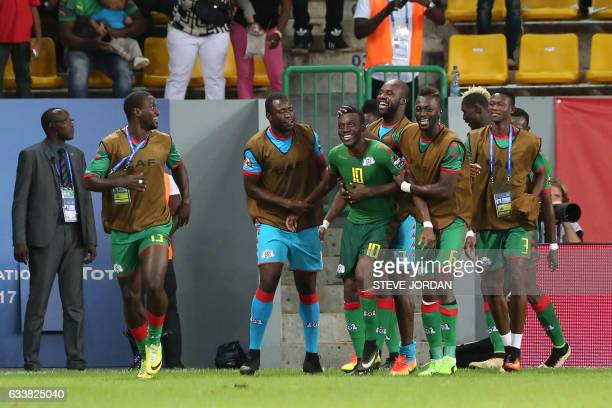 Burkina Faso's players celebrate a goal during the 2017 Africa Cup of Nations third place football match between Burkina Faso and Ghana in PortGentil...
